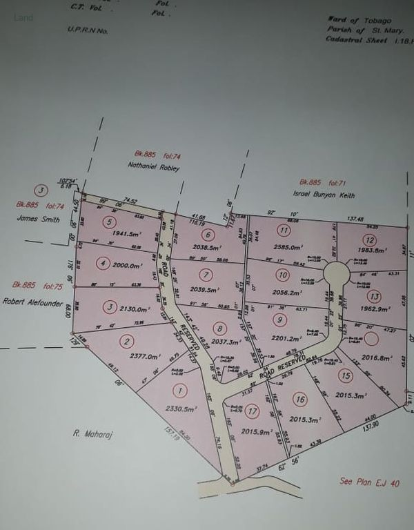 Cadastral for Goodwood Tobago Plots